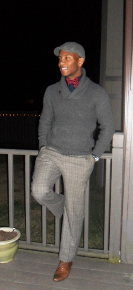 Shawl Neck Sweater and a Bowtie
