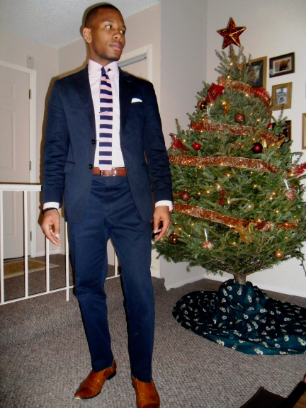 Navy Suit by Banana Republic. Custom Shirt by J.Hilburn. Tie by Club Room, Shoes by Zota