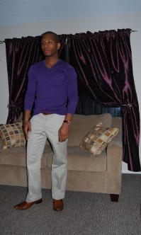 Sweater by H&M   Striped Khaki pants by Express   Oxfords by Zota