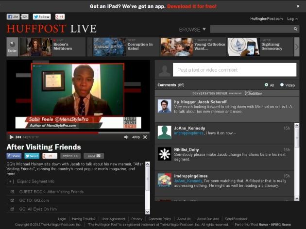 Huff Post Live with GQ Deputy Editor Michael Hainey x Sabir M. Peele