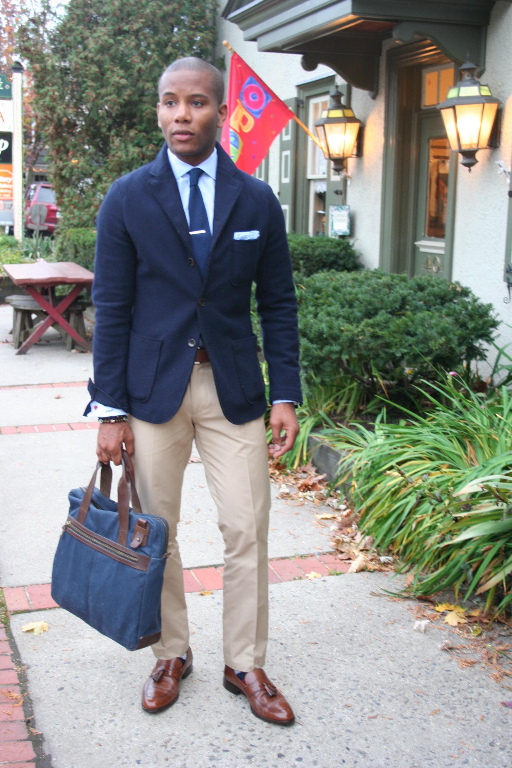 Khaki Pants Brown Belt Brown Shoes Burgendy Blazer