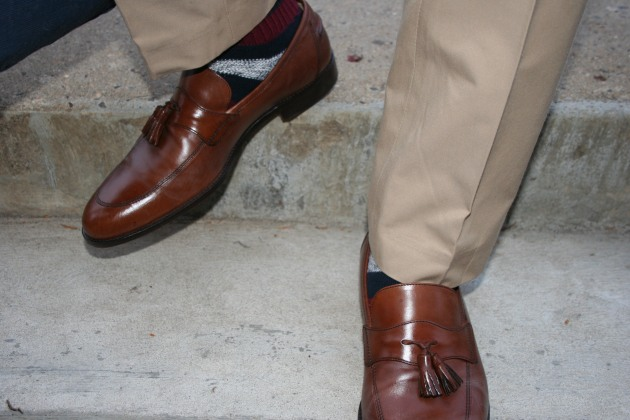 Purnell Loafers by Johnston & Murphy   Rugby Striped Wool Socks by Gap