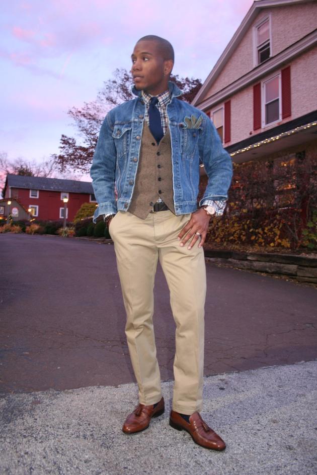 Denim Jacket by Levi's Size 38 | English Wool Waist Coat by J.Crew | Semi Spread Collar Ogden Plaid Custom Dress Shirt by Ratio Clothing