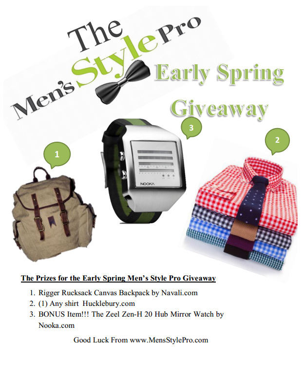 Men's Style Pro Early Spring Giveaway featuring Hucklebury Shirt, Navali Bag & Nooka Watch